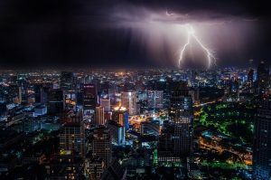 Thunderstorm at night over a city